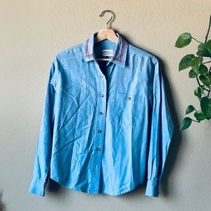 90s embroidered denim button down